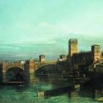 La Veduta di Verona con Castelvecchio e il ponte Scaligero da monte dell'Adige di Bernardo Bellotto