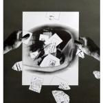 Giulio Paolini, Studio per Immacolata Concezione, 2008, matita e collage su carta grigia, cm 61,5x49,5 (Galleria Studio G7)